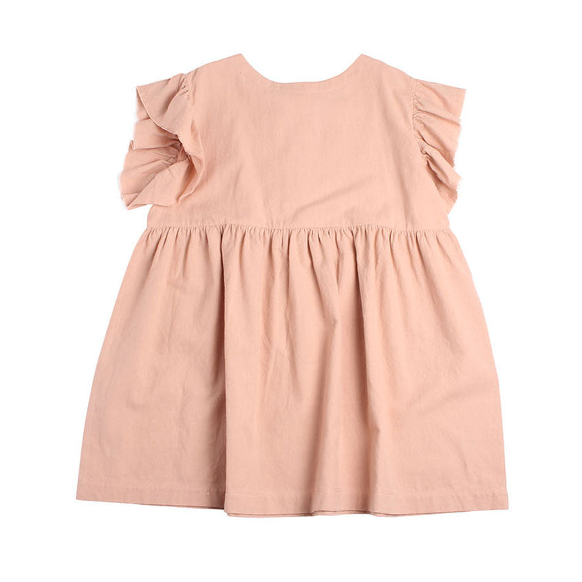 Gather Trim Dress - Plaster Pink