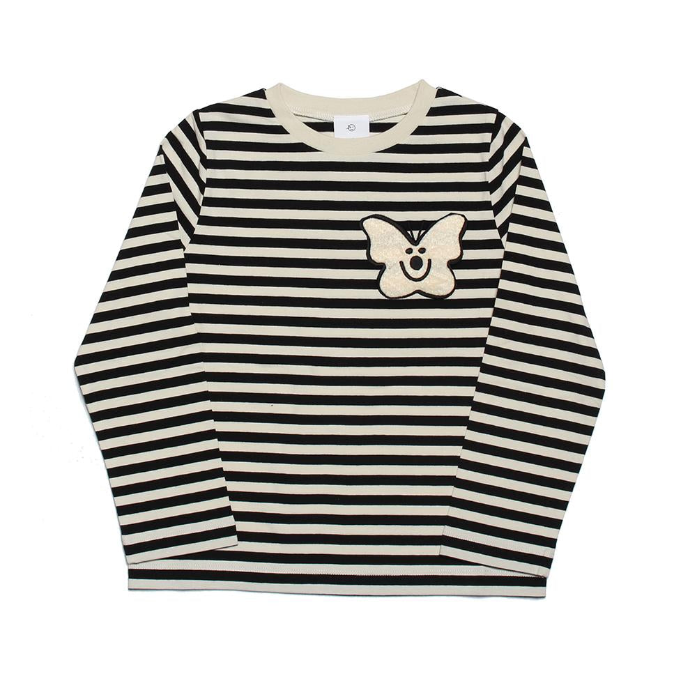 Long Sleeve Stripe Tee - Black Ecru