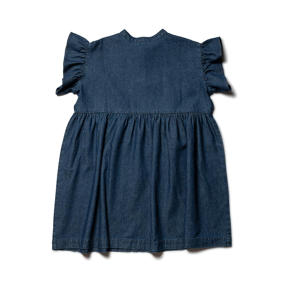 Frill Sleeve Dress - Washed Denim
