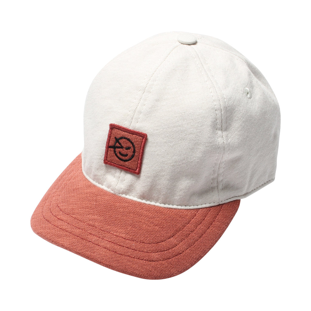 Badge Cap - Ecru/Deep Coral