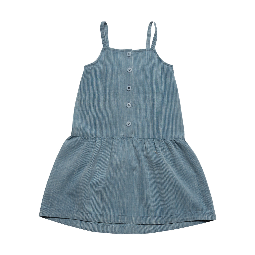 Drop Waist Sundress - Bleached Indigo Stripe
