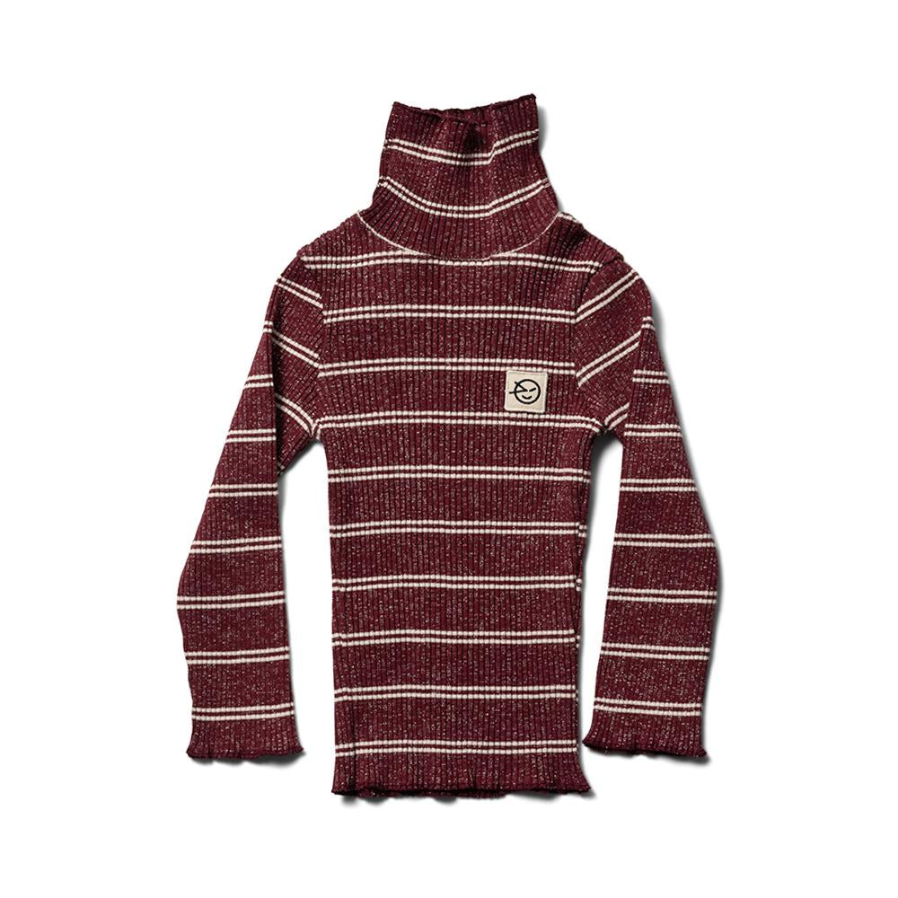 Roll Neck Top - Burgundy / Ecru Sparkle Stripe
