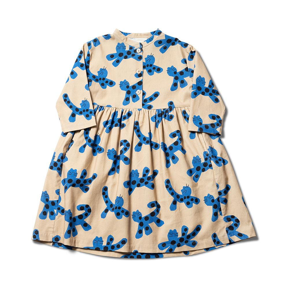 Parti Animal Dress - Sand / Otomi Blue