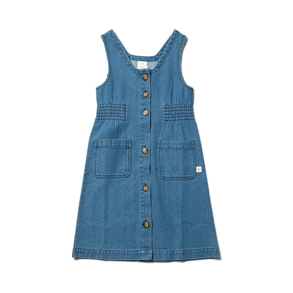 Long Line Pinafore - Mid Bleached Denim