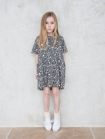 Spotted Gather Dress - Charcoal