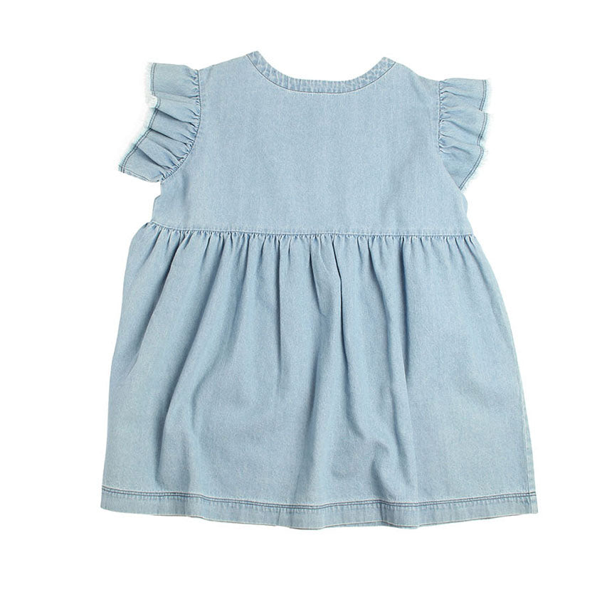 Gather Trim Dress - Denim