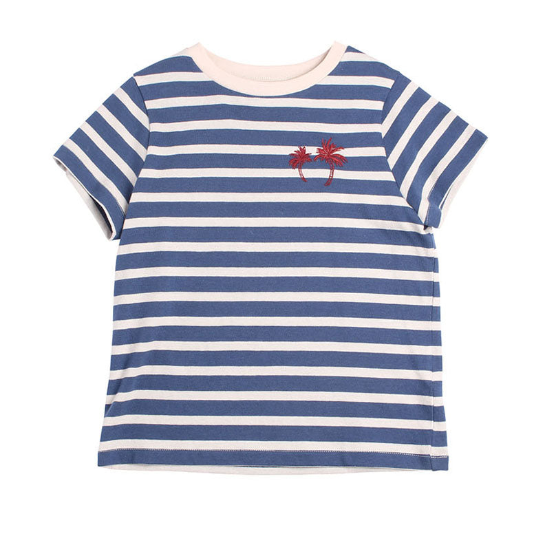 Stripe Palms Tee - Night Blue Stripe