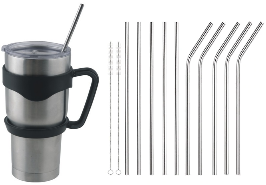 Lucid Inspirations Insulated 30 oz Vacuum Stainless Steel Tumbler with Handle & 9 Metal Ultra Long 10.5 inch Drinking Straws and 2 Brushes