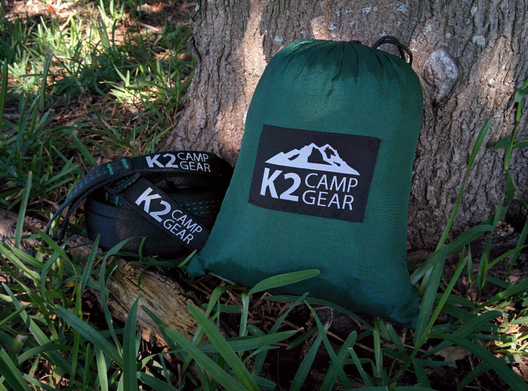 Original Double Camping Hammock (Forest Green/Black) - K2campgear - 5