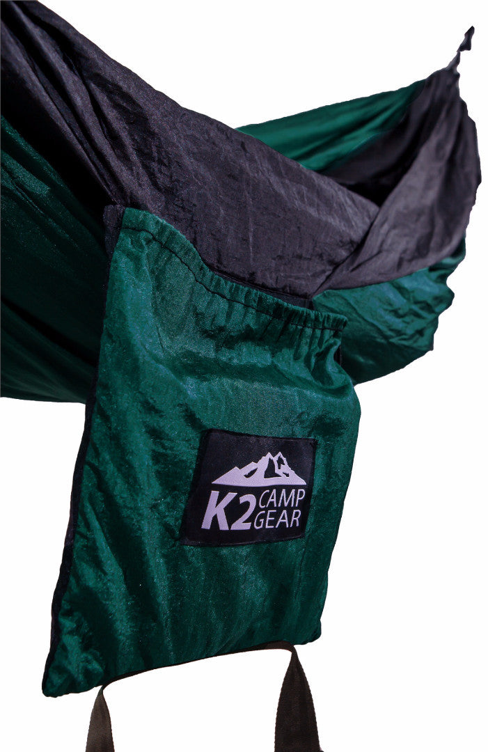 Original Double Camping Hammock (Forest Green/Black) - K2campgear - 7