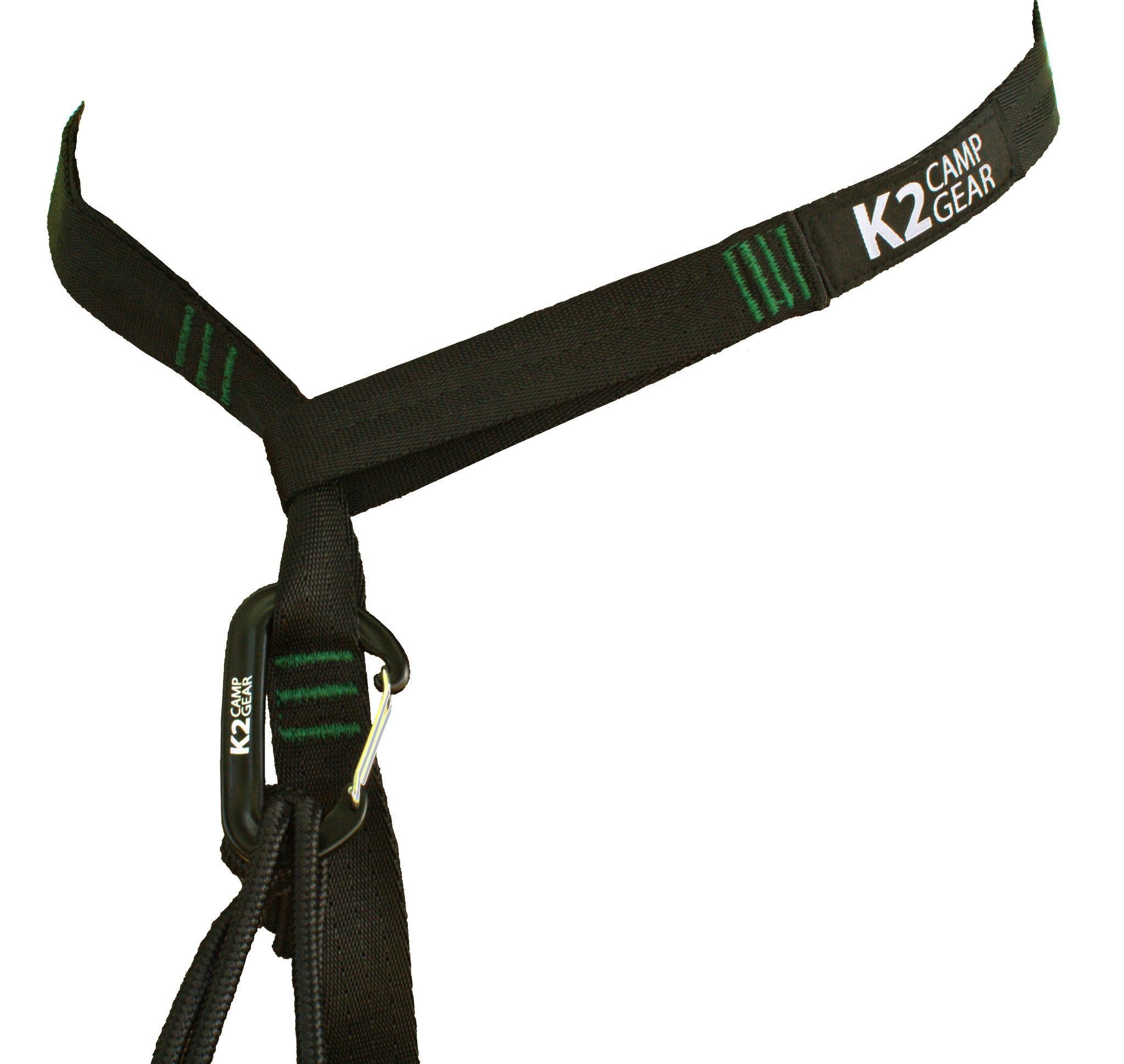 K2 Camp Gear Triple Stitched Camping Hammock Straps Tree Saver Set - 2 Straps and Carrying Case Green/Black - K2campgear - 3