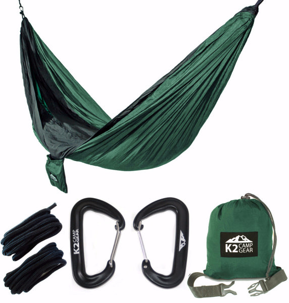 - Original Double Camping Hammock (Forest Green/Black)