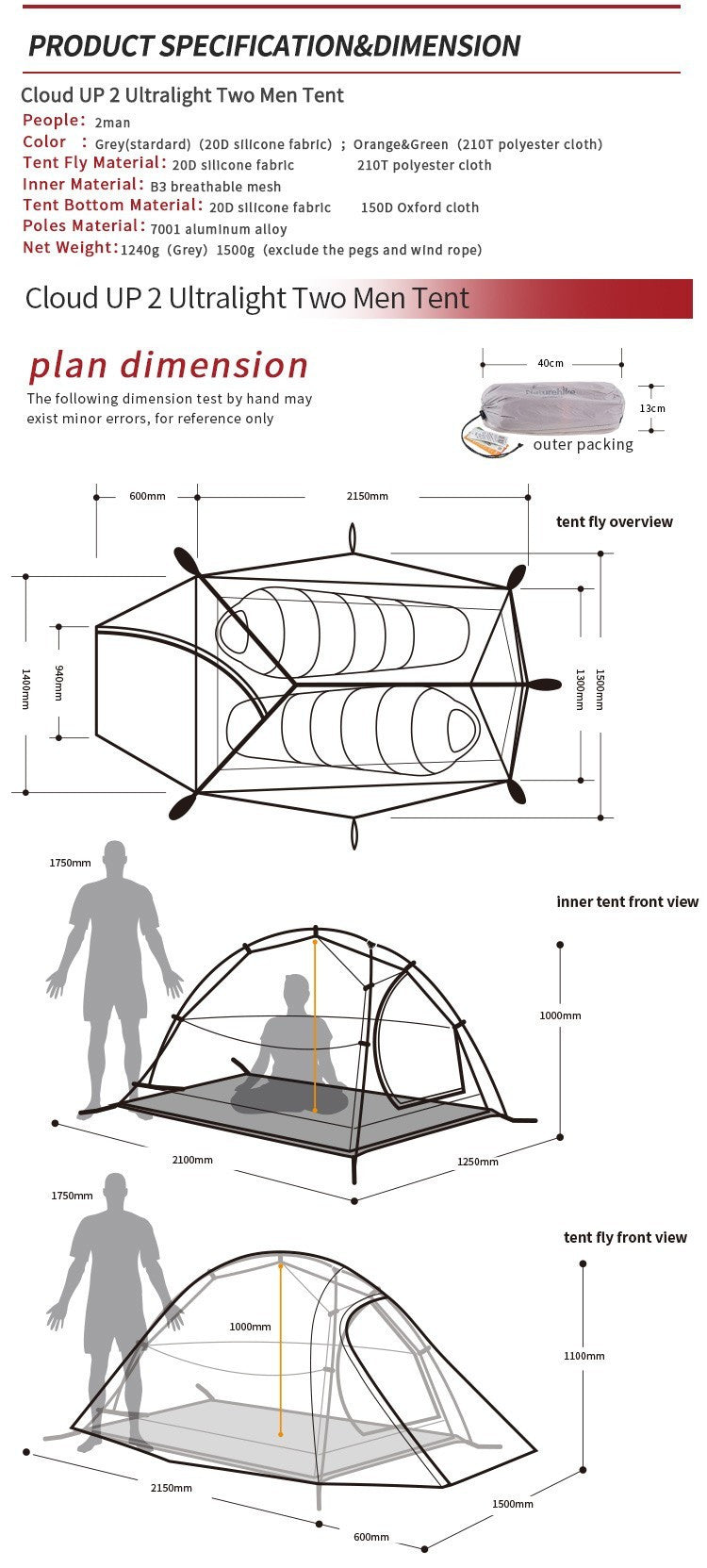 NatureHike 2 Person Tent Ultralight 210T Plaid Fabric Tent Double-layer Camping Tent - K2campgear - 6