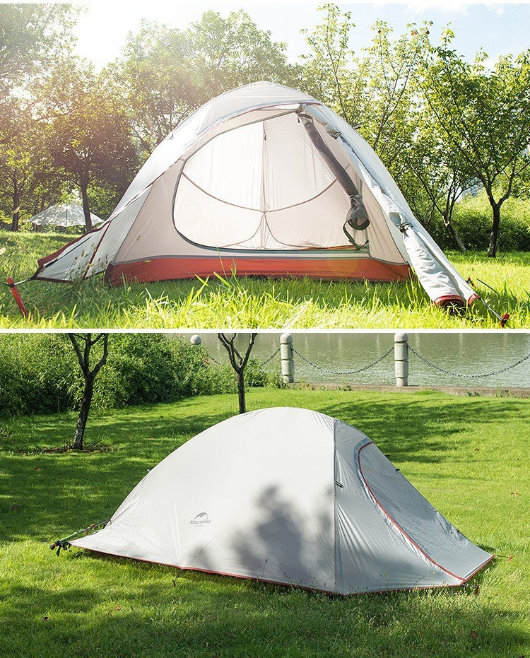 NatureHike 2 Person Tent Ultralight 210T Plaid Fabric Tent Double-layer Camping Tent - K2campgear - 5