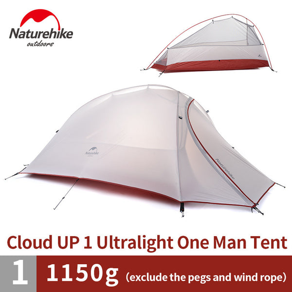 Naturehike 1 Person Tent 20D Silicone 210T Plaid FabricTent Double-layer Camping Tent Lightweight - K2campgear - 1