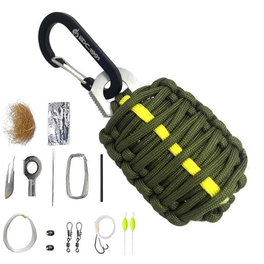 EDC GEAR Carabiner Grenade 550 Paracord Outdoor camping Survival Kit Fishing Kit with Fire Starter and Sharp Eye Knife - K2campgear - 5