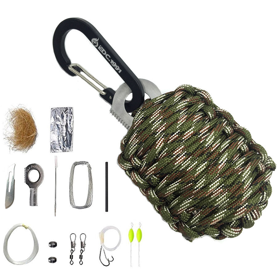 EDC GEAR Carabiner Grenade 550 Paracord Outdoor camping Survival Kit Fishing Kit with Fire Starter and Sharp Eye Knife - K2campgear - 3