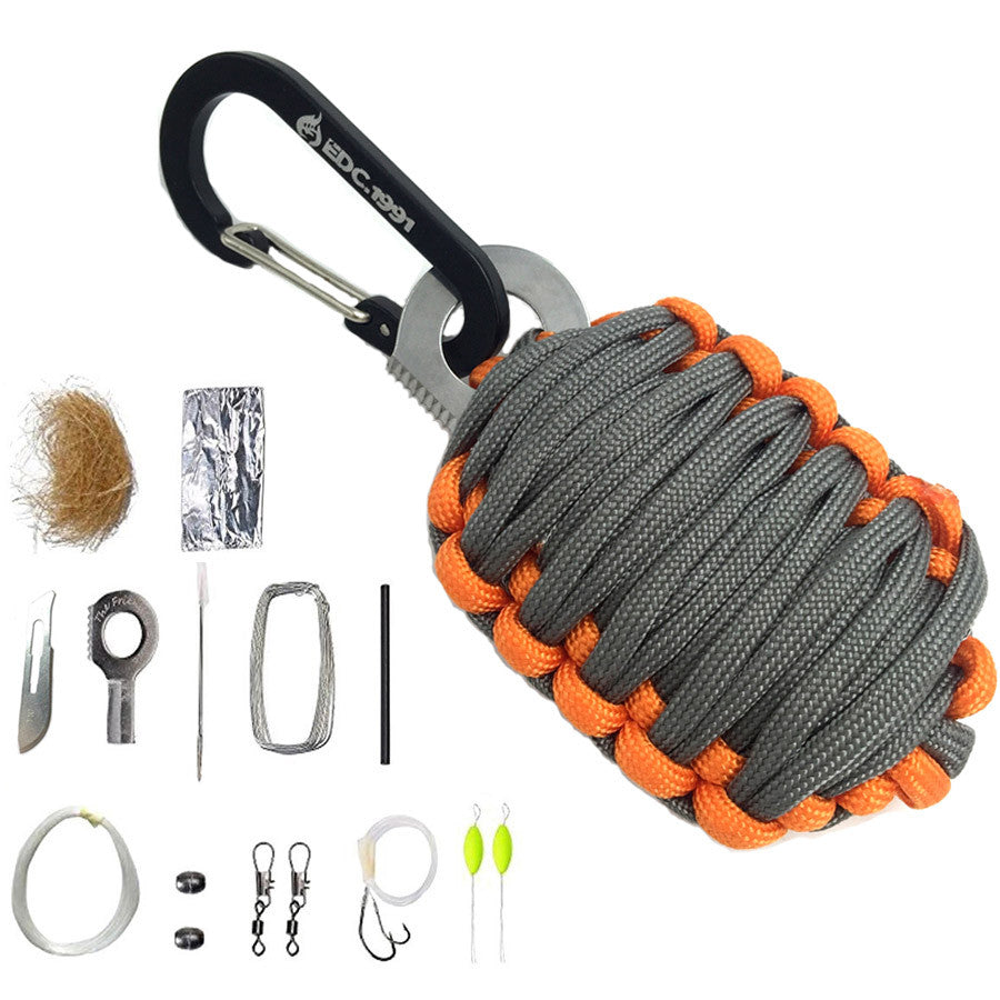 EDC GEAR Carabiner Grenade 550 Paracord Outdoor camping Survival Kit Fishing Kit with Fire Starter and Sharp Eye Knife - K2campgear - 4
