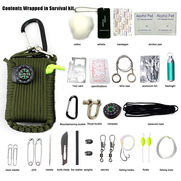 29 PCS Outdoor Survival Kit First Aid 550 Paracord Fishing Kit with Fire Starter - K2campgear