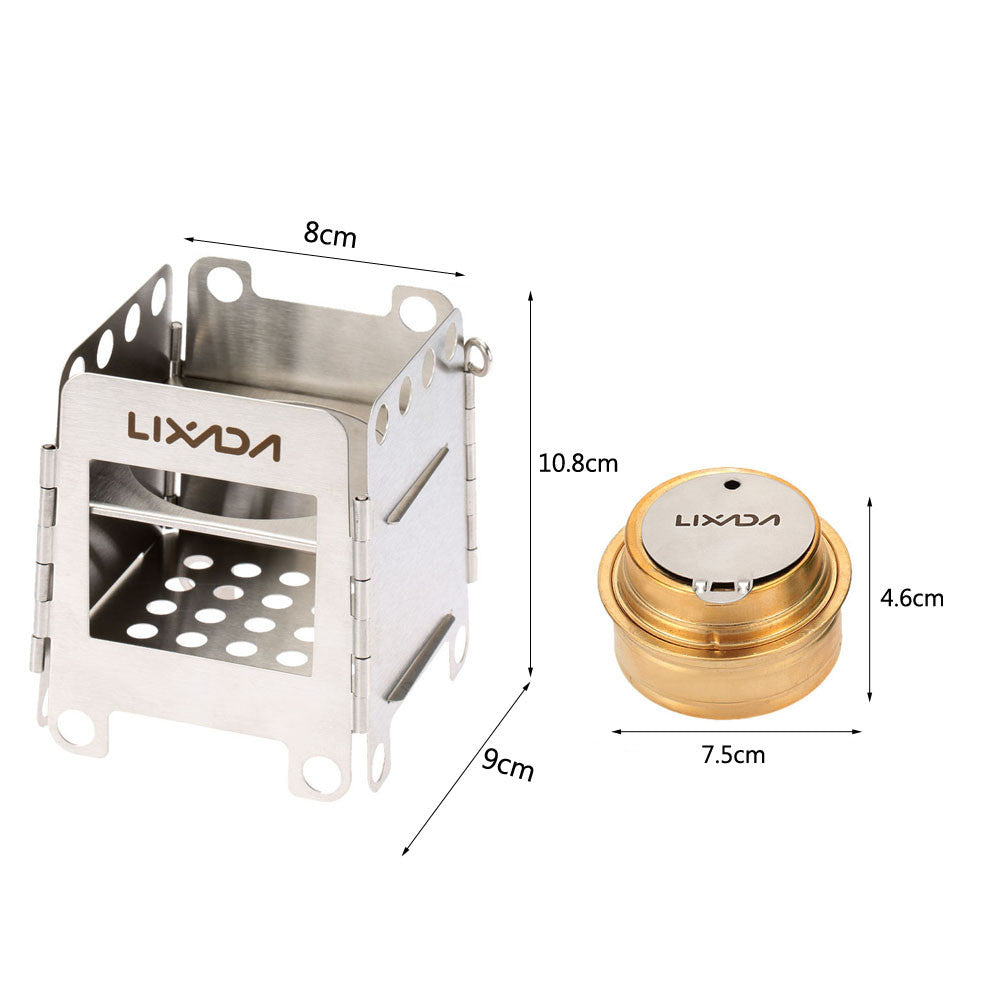 Portable Stainless Steel Wood Stove + Backup Alcohol Burner Pocket Stove
