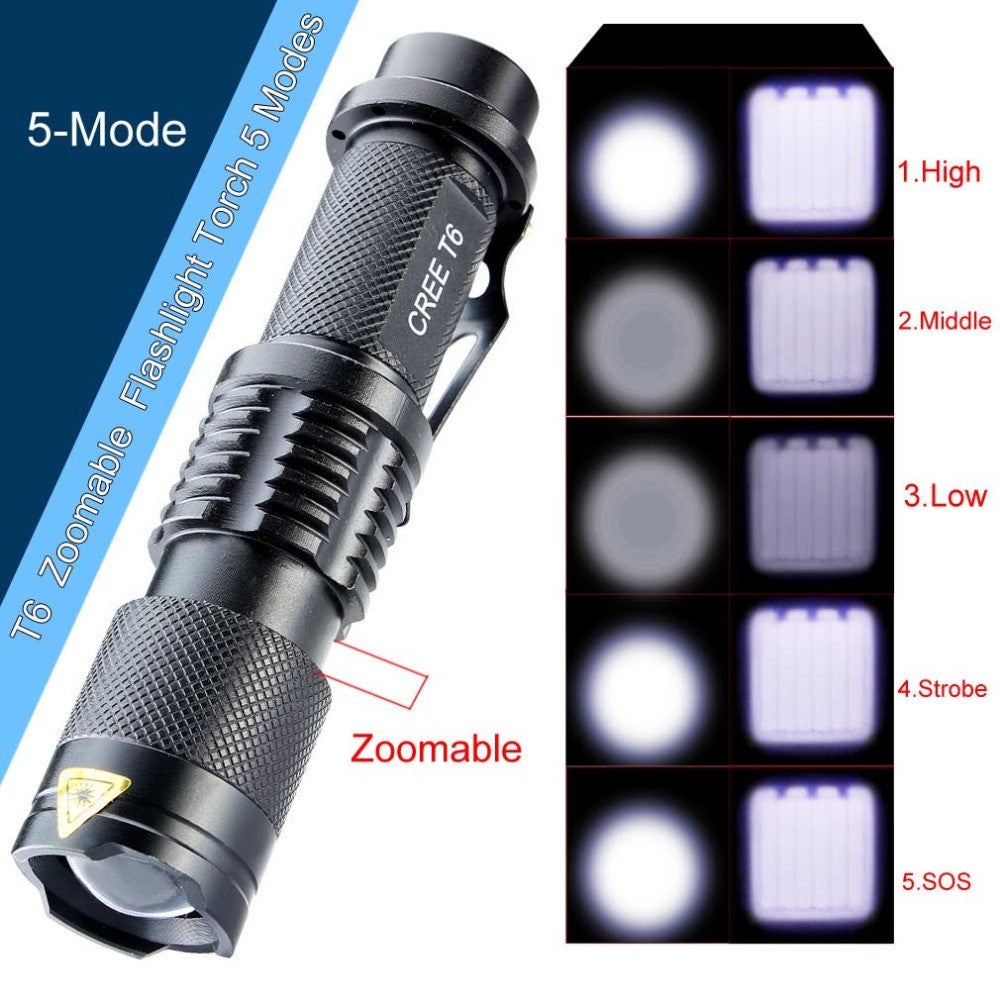 3000 Lumens High Power LED Torch CREE xm-l T6 Flashlight Zoomable Tactical Torch Flashlight 5 modes - K2campgear - 1