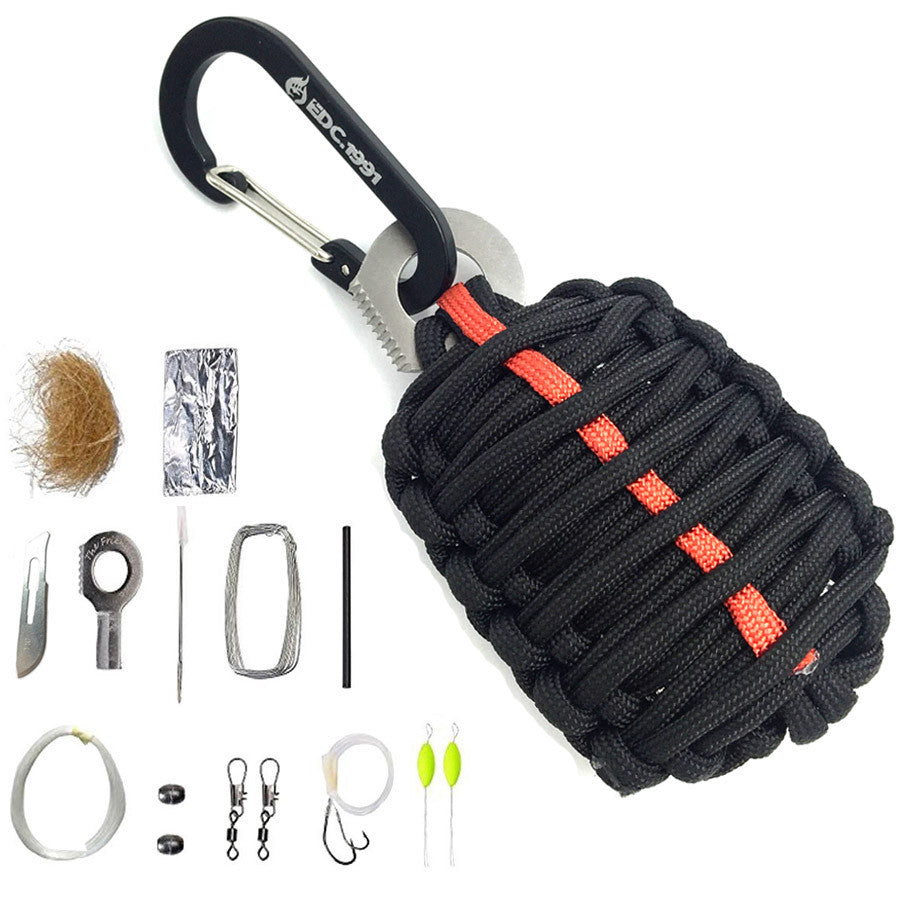 EDC GEAR Carabiner Grenade 550 Paracord Outdoor camping Survival Kit Fishing Kit with Fire Starter and Sharp Eye Knife - K2campgear - 2