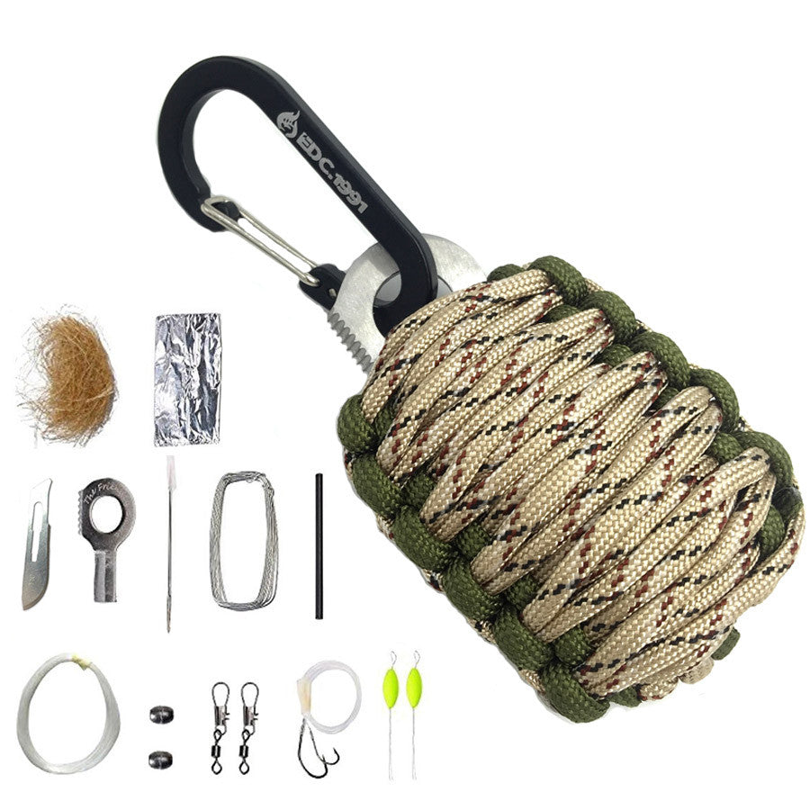 EDC GEAR Carabiner Grenade 550 Paracord Outdoor camping Survival Kit Fishing Kit with Fire Starter and Sharp Eye Knife - K2campgear - 6