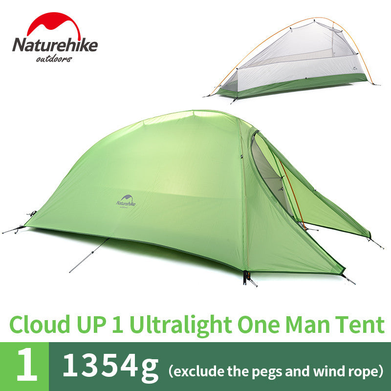 Naturehike 1 Person Tent 20D Silicone 210T Plaid FabricTent Double-layer Camping Tent Lightweight - K2campgear - 2