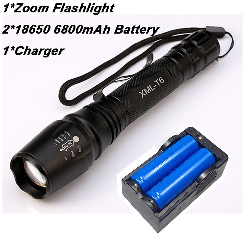8000 Lumen Flashlight CREE XM-L T6 LED Zoomable Focus Torch Light Tactical - K2campgear - 6