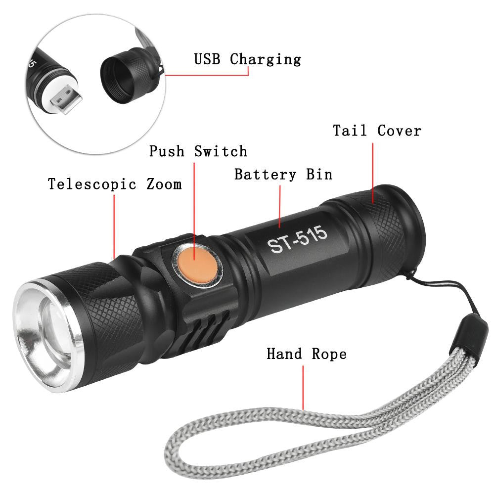 Zoomable CREE T6 LED Light 8000 LM Tactical USB Rechargeable Flashlight 3 Mode