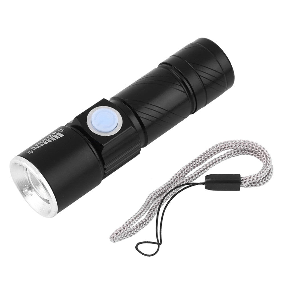 Mini LED Flashlight ZOOM 2000LM 3 Modes Zoomable Torch USB Flashlight Rechargeable Lithium Battery Flashlight Lantern With Strap