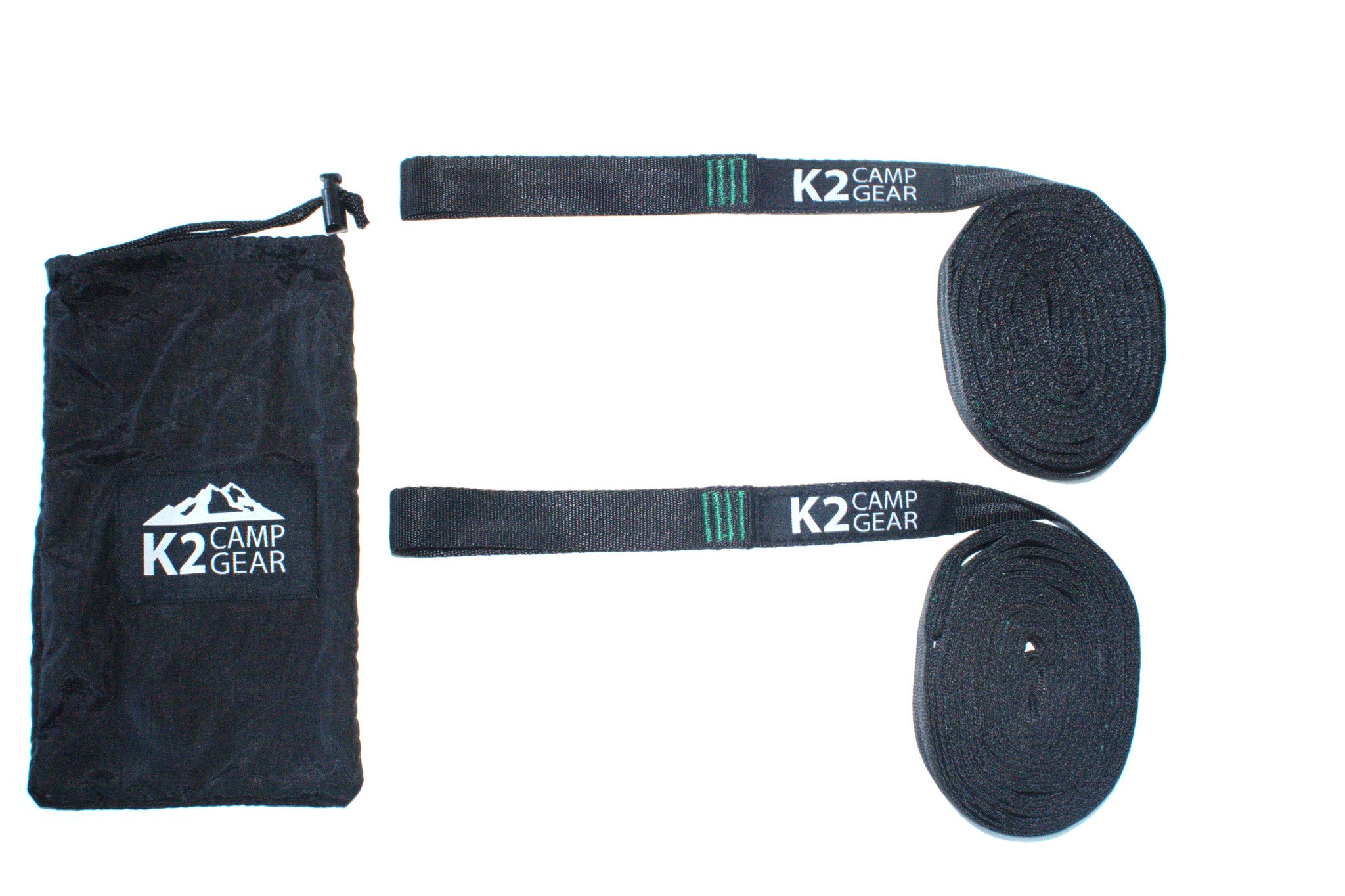 K2 Camp Gear Triple Stitched Camping Hammock Straps Tree Saver Set - 2 Straps and Carrying Case Green/Black - K2campgear - 2