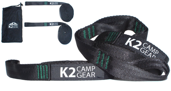 K2 Camp Gear Triple Stitched Camping Hammock Straps Tree Saver Set - 2 Straps and Carrying Case Green/Black - K2campgear - 1