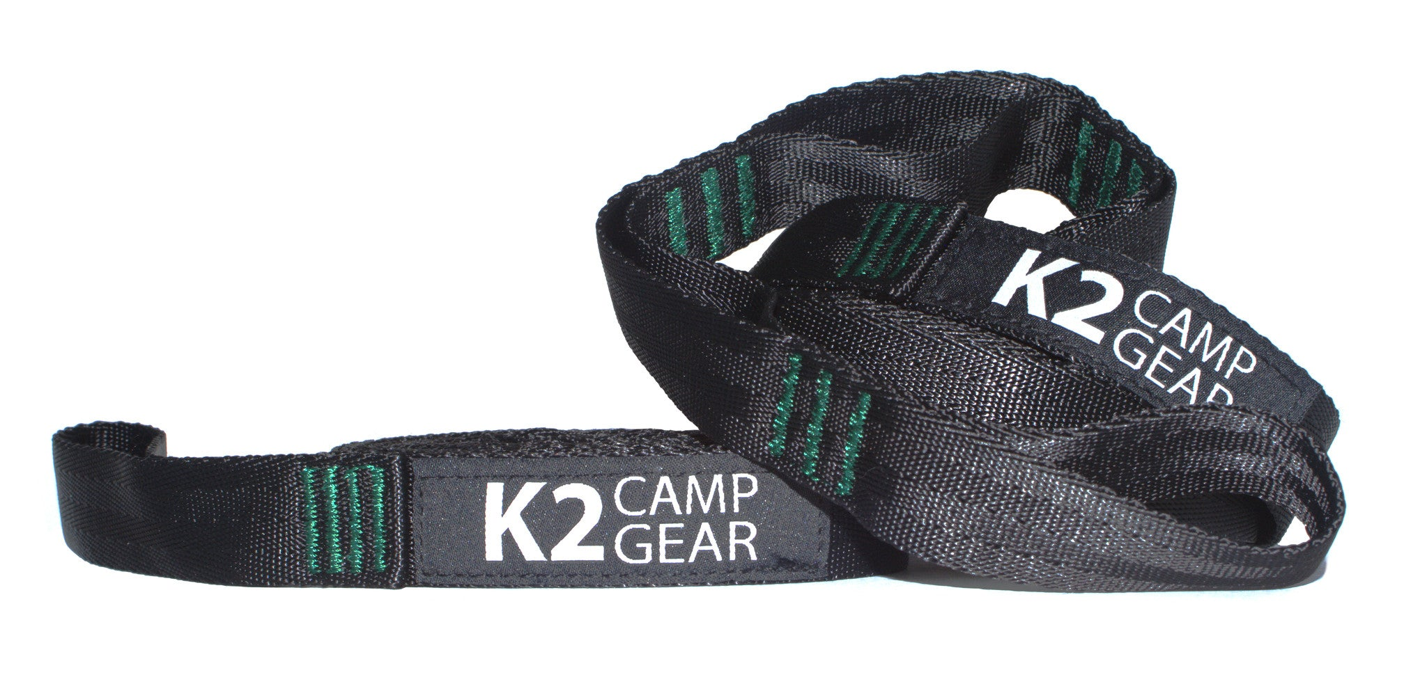 K2 Camp Gear Triple Stitched Camping Hammock Straps Tree Saver Set - 2 Straps and Carrying Case Green/Black - K2campgear - 4