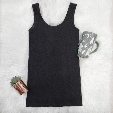 DBL HEATHER BLK TANK - LOUNGEWEAR