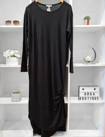 L/S BLACK DRESS BRUSHED LONG ROUND BOTTOM
