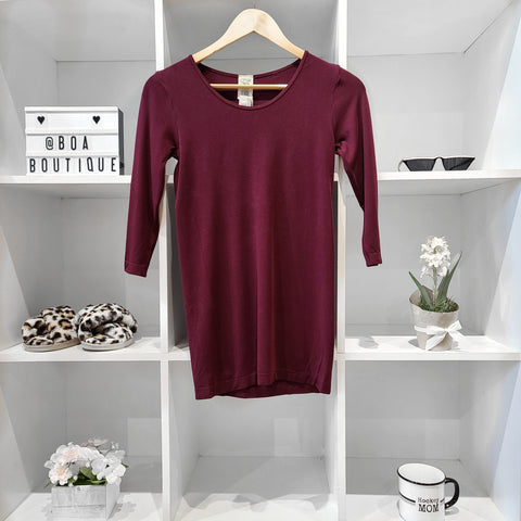 BAMBOO BORDEAUX 3/4 SLV TOP - LOUNGEWEAR