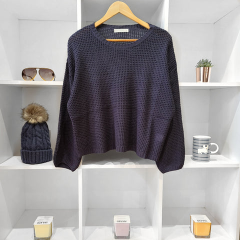 CROCHET NAVY MIX LINEN SHORT SWEATER