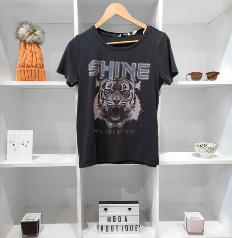 SHINE MIND BLOWING TIGER TEE BLACK ORGANIC COTTON