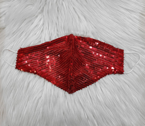 RED SEQUIN ITALIAN COTTON MASK
