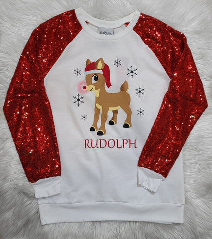 RED SEQUIN SLV RUDOLPH TOP