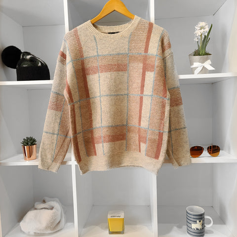 TAUPE BLUSH PLAID SOFT PULLOVER