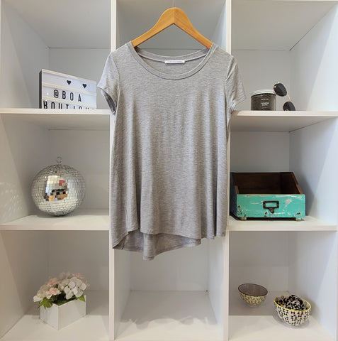 CLASSIC ALINE HEATHER GREY LONG TEE