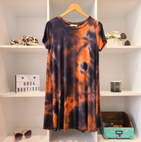 ORANGE/NAVY TIE DYE TENT TEE DRESS