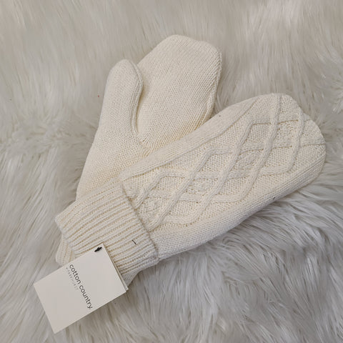 CABLE MITTEN NATURAL MADE IN TORONTO