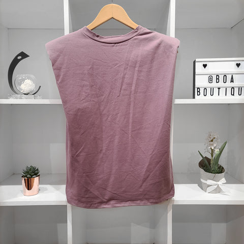 PADDED MAUVE HIGH NECK TEE