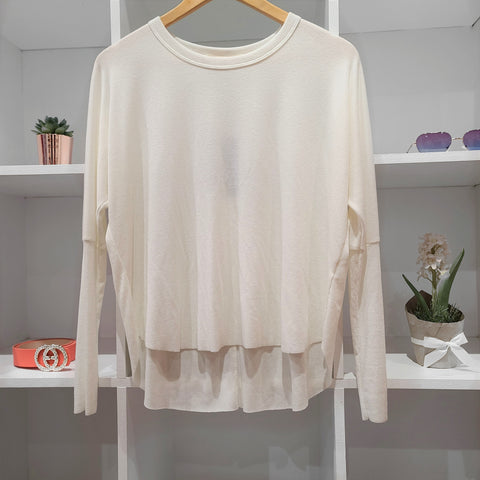 RAW EDGE HIGH LOW L/S OFF WHITE RIB TOP