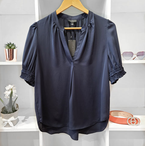 CINCHED SHORT SLV NAVY BLOUSE