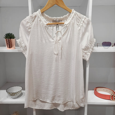 GATHERED TEE SLV WHITE SATEEN TOP