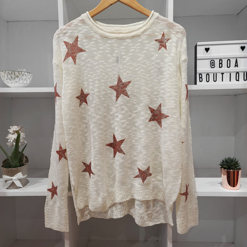 CRIMSON STAR WHITE MESH SWEATER